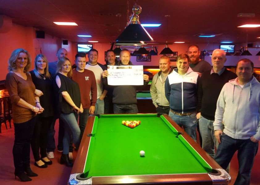 Hunters Bar staff and regulars raised �5,481 for St Barnabas Hospice from a 24 hour pool marathon.