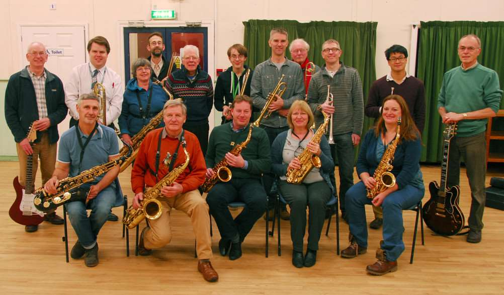 Some members of the Belvoir Big Band at a recent rehearsal, including founders Roger Dalby, left, and Jon Jayes right.
