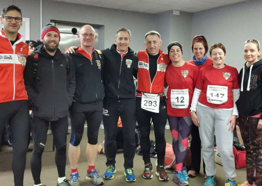 Belvoir Tri Club's Wayne Searle, Adam Madge, Ove Andresen, Chris Pugh, Alan Heathershaw, Catherine Davies, Ruth Dunstan, Louise Payne and Natalie Eastaugh at the Newton's Fraction race.