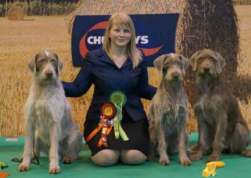 Rhiannon Chevalier with Nora, Bing and Maycee at Crufts