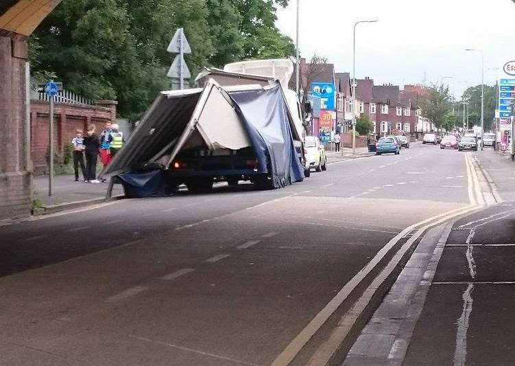 Remains of a lorry that has struck Harlaxton Road railway bridge this afternoon. Photo courtesy of Aleksandra Wasowska.