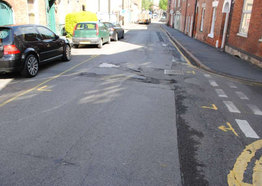The section of Swinegate in Grantham which was due to be resurfaced.