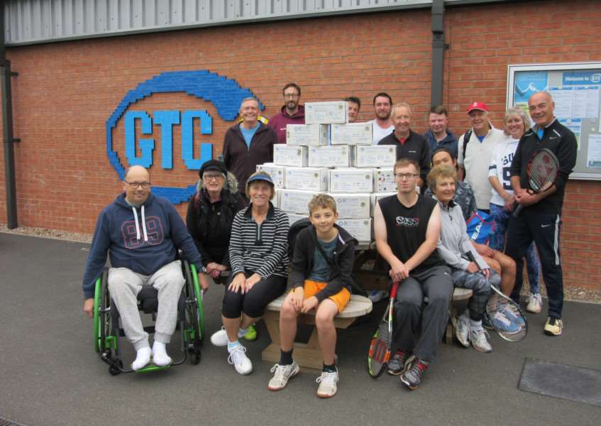 Rotary Shoeboxes and volunteers outside Grantham Tennis Club.