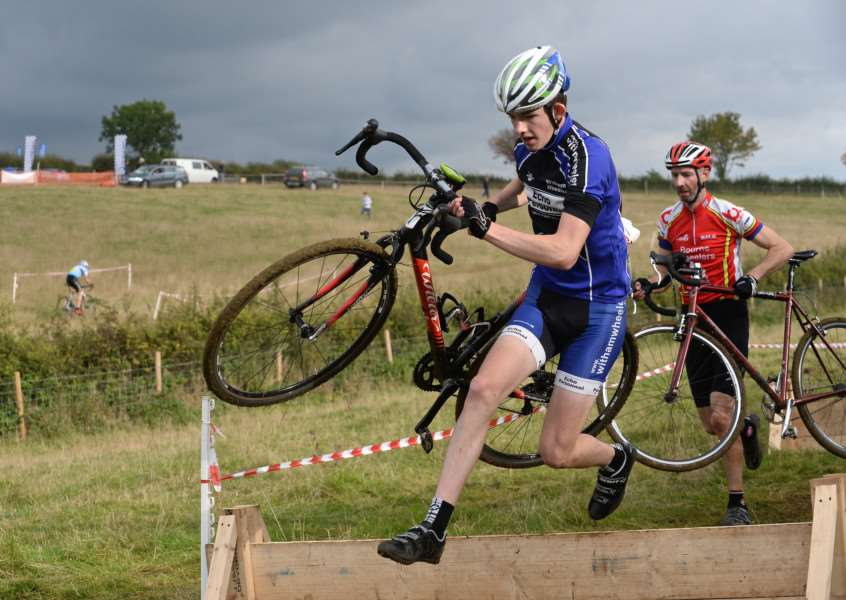 Action from Witham Wheelers' round of the Lincs Cyclo-Cross League at Stroxton. Photo: Alan East