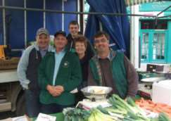 A photo of the team taken when the stall was located in front of Sorrento's in Market Place, Grantham.