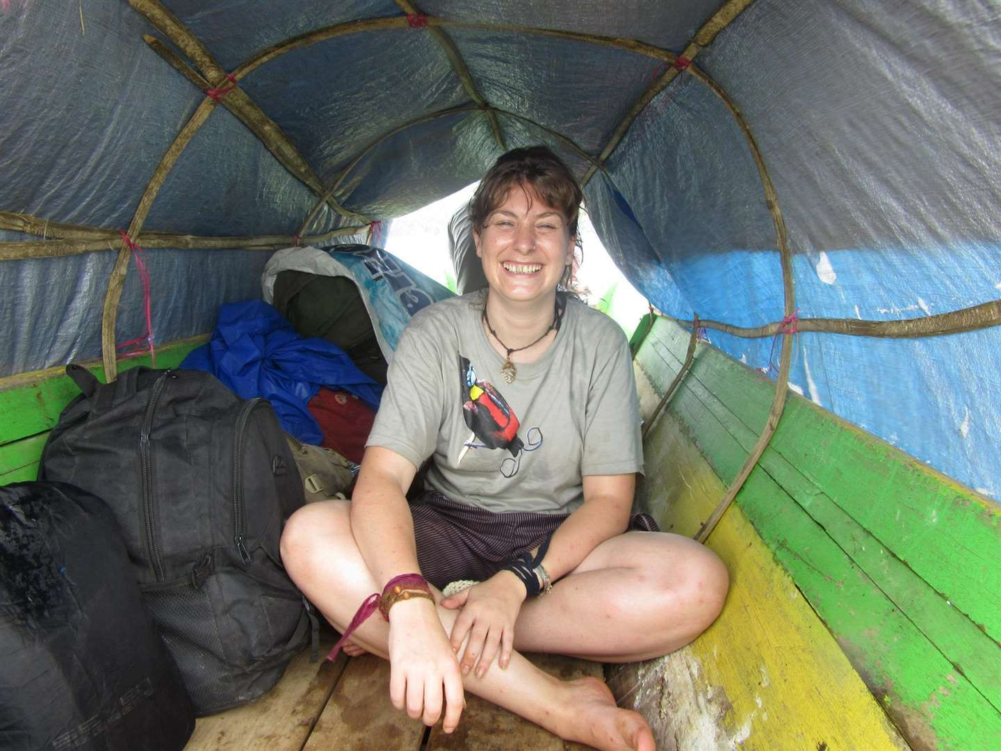 Laura Arnold in a canoe on her latest trip to Indonesia. (6816347)