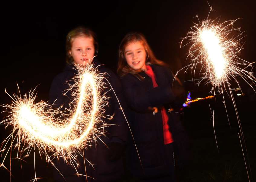 Bonfire and fireworks in Grantham. Estrella and Amalia Burgess