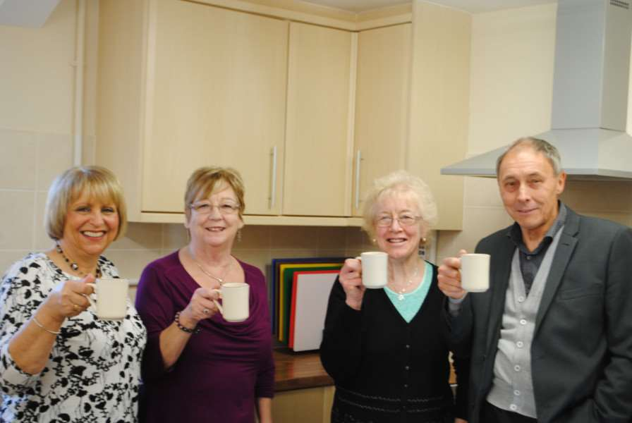 Some of Grantham Passage's volunteers with well-deserved cuppas - from left, Gill Mahoney, Anne Laine, Mary Treacy and John Story. They have also taken part in their own fund-raising events.
