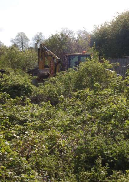 During the extensive clearing of the site.
