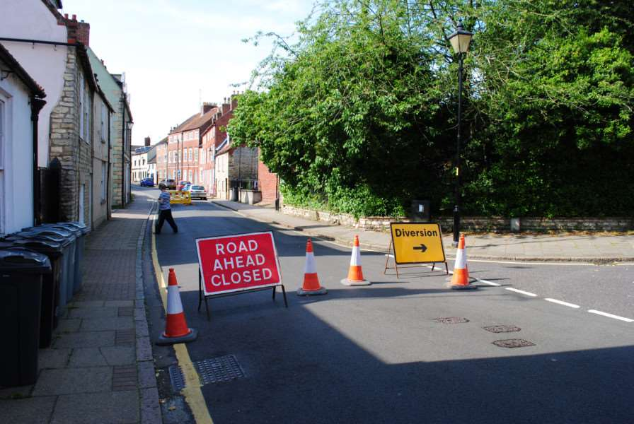 A diversion has been put in place at the junction with Bluegate after a small hole appeared in the road in Castlegate.