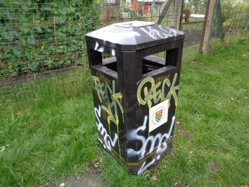 Graffiti on a bin by the River Witham.