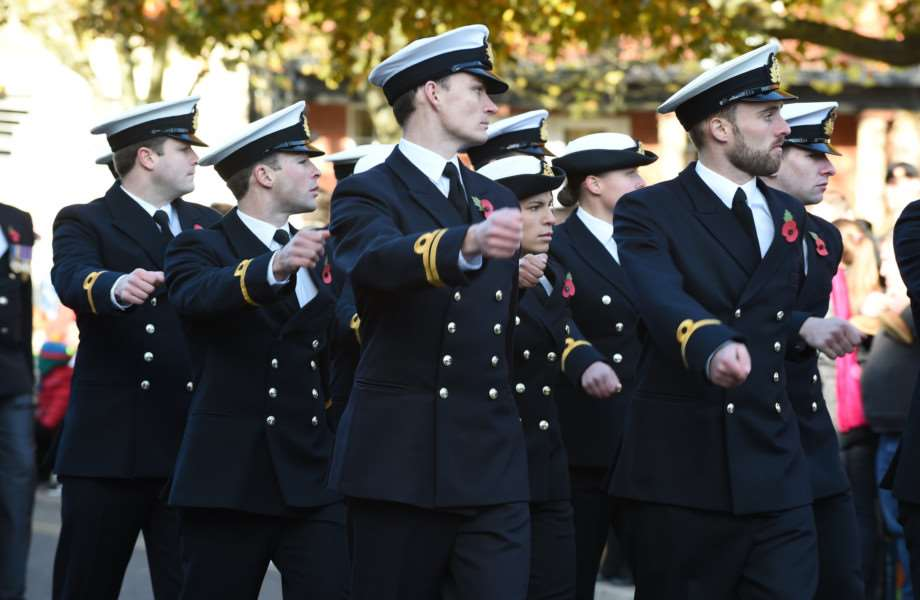 Members of the armed forces took the salute on Remembrance Sunday.