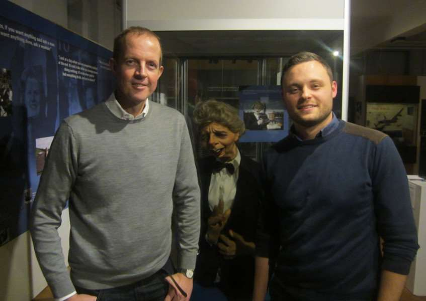 Nick Boles MP, Ben Bradley MP and the Margaret Thatcher puppet