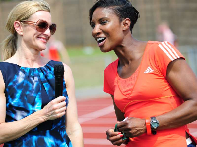 Gabby Logan interviews Olympic Gold medallist Denise Lewis at the Summer Cup in Grantham. Photo: TRP-1-7-2015-396A (39)