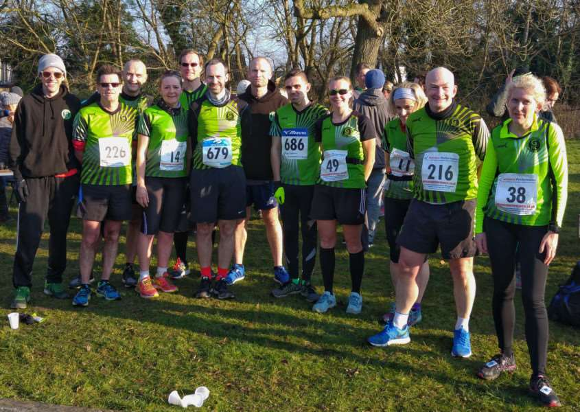 Some of the Grantham Running Club finishers at the Folksworth 15-mile road race.