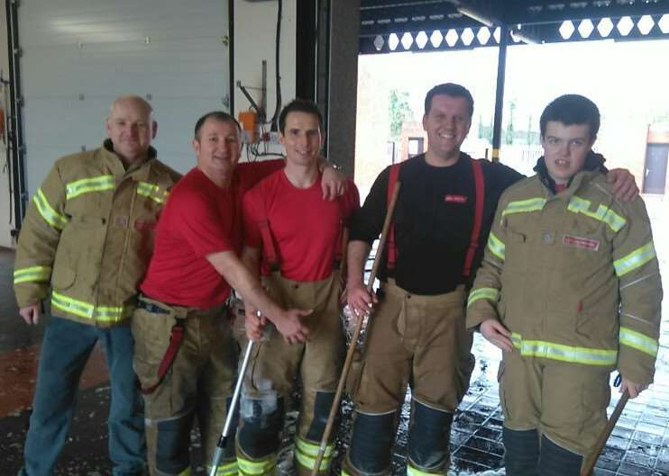 Job well done. Grantham firefighters raised �496 for the Fire Fighters Charity at their car wash.