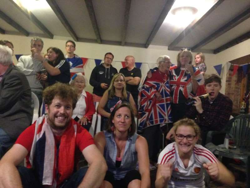 Friends and family of Shona McCallin celebrate her gold-medal winning achievement of the Team GB hockey team at the Rio Olympics.
