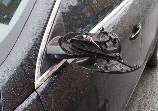 Darren Brown sent in this photo, showing one of several cars damaged in Rycroft Street, Grantham, on Friday night.