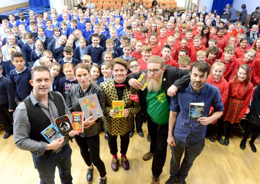 Authors Chris Mould, Sophy Henn, Steven Bulter, A.F Harrold and Will Mabbitt visit Priory Ruskin Academy in Grantham. Photo: Toby Roberts