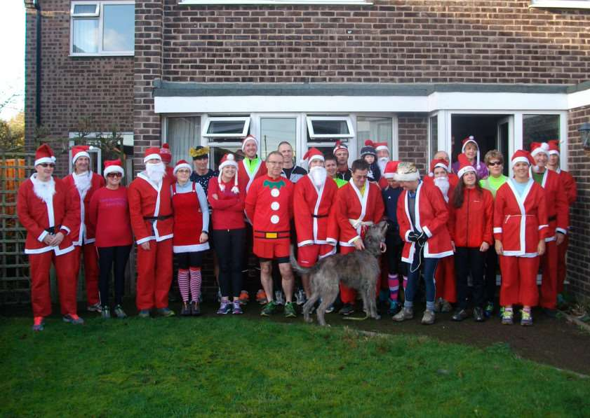 Grantham athletes congregate before the start of their Christmas Eve run.