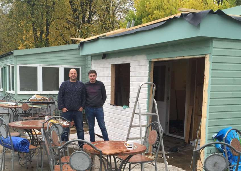 Martin Richards and Aaron Savona outside what will soon be Cafe Indulgence at Wyndham Park Tea Rooms.