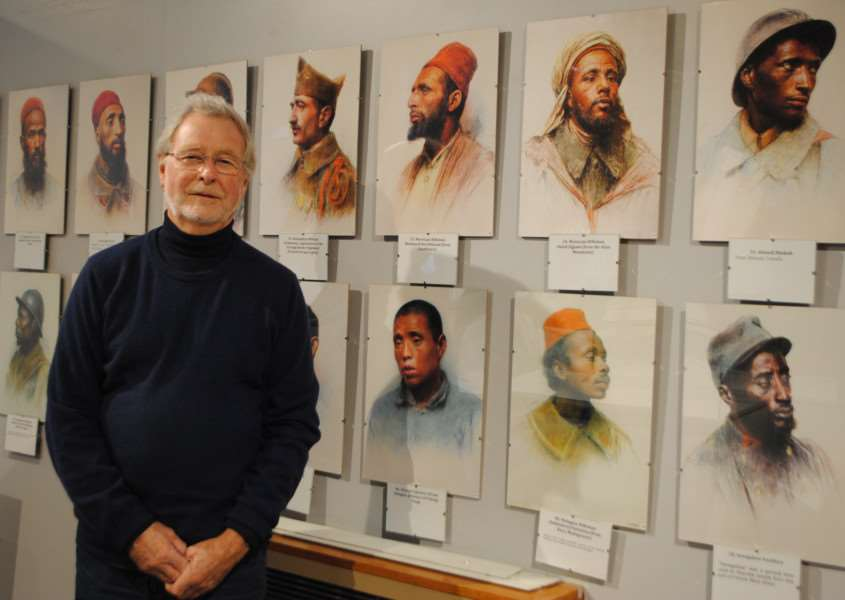 Dr Doug Jenkinson exhibited over 100 portraits at Grantham Museum