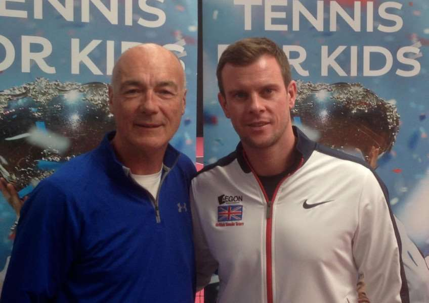 GTC coach Paul Kennedy with Davis Cup captain Leon Smith at the Kids for Tennis training day at Loughborough University.