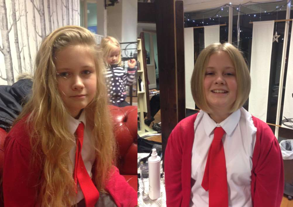 Tara McAdam-James before and after her charity haircut.