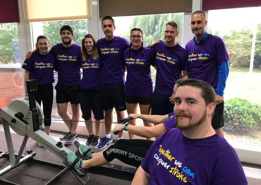 Team effort: Staff from Inspire+ took three hours 37 minutes to complete their rowing challenge.