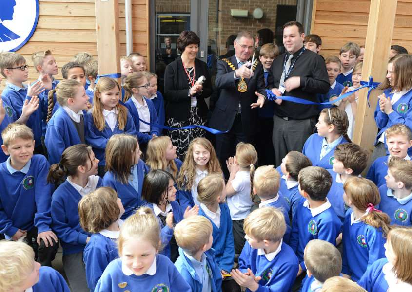 Pupils and staff gather for the official ribbon-cutting ceremony at Ancaster Primary School