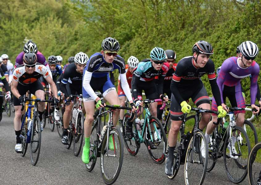 Adam Egner (centre) in the thick of the action in Rockingham Forest Wheelers' stage race. Photo: Alan East