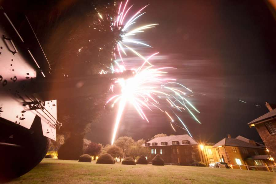 Fireworks at the end of the celebrations to mark the 100th anniversary of the Prince William of Gloucester barracks in Grantham.
