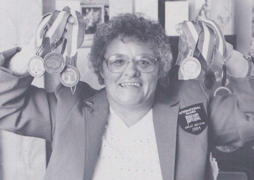 Irene Hotchin with her Paralympic medals from 1984.