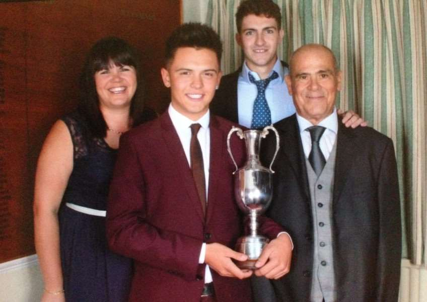 Winning the John Perbedy Trophy, from left, Edina with team mates Jack Diment, Ted Glenn and Sergio.