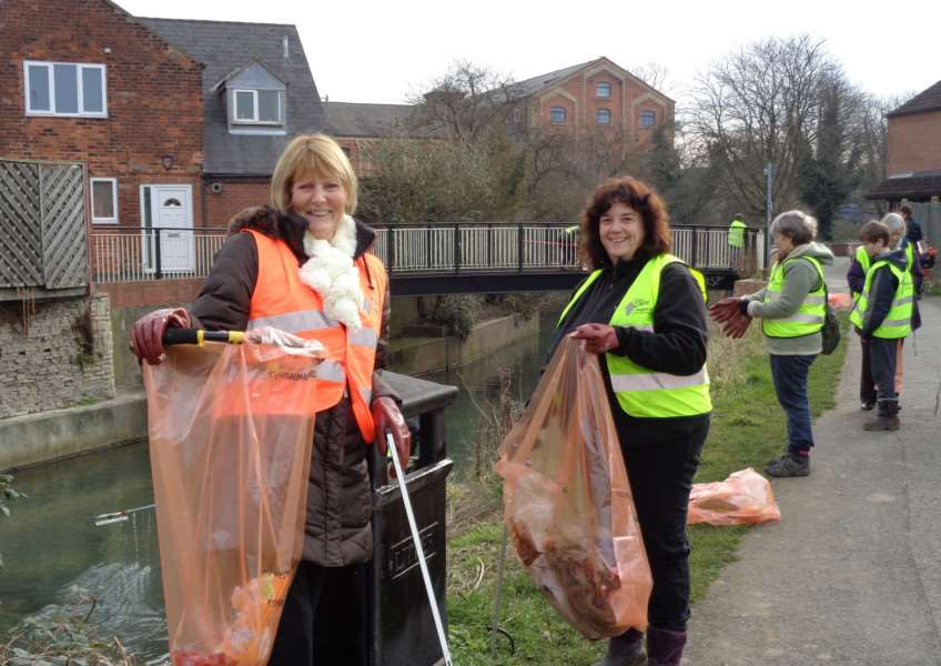 Volunteers clean up the River Witham on Saturday.
