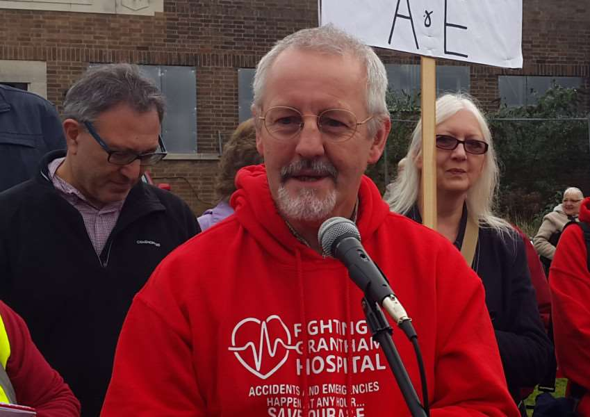 Paul Lewis speaks at the A&E protest rally at the end of October.