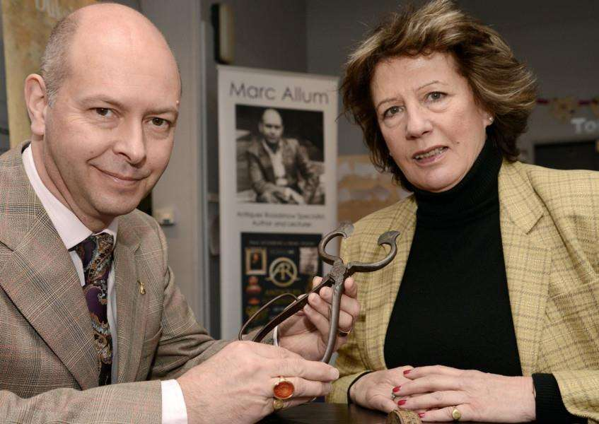 Antiques expert Marc Allum is with Ginny Heathcote Ball at the free valuation day in the museum.