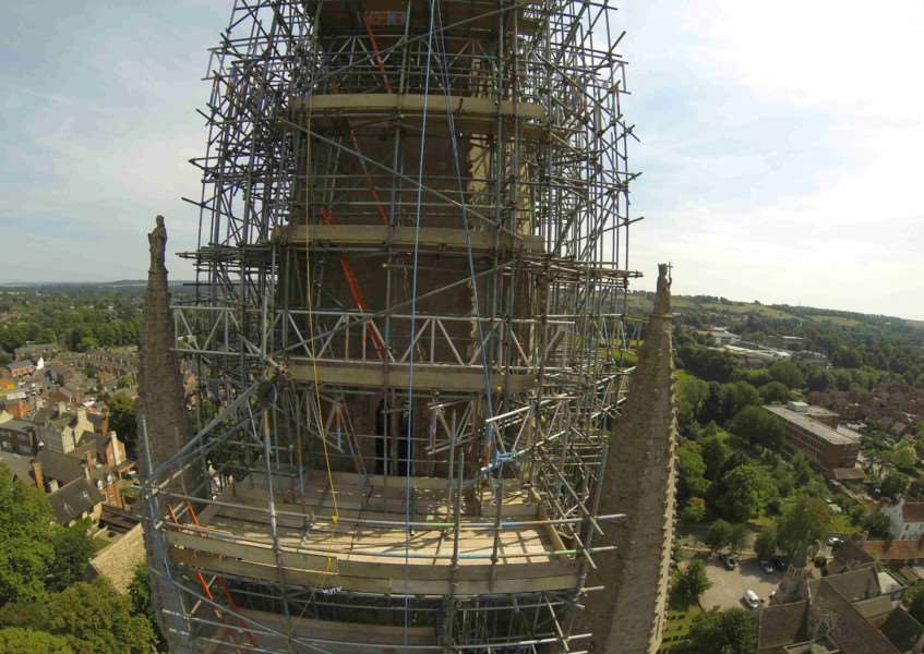 The extensive scaffolding to be removed. Photo: Roger Graves