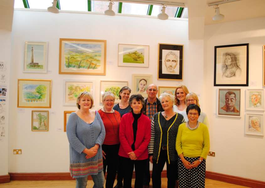 Artists with their work on display at the From Landscape to Life exhibition in the newton Room at the Guildhall in Grantham.