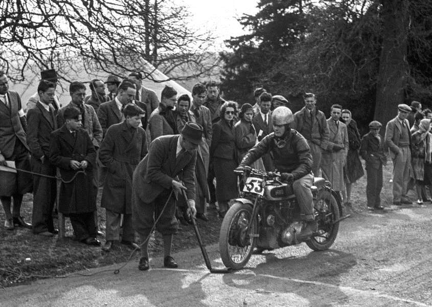 Back in the day, a vintage HRD motorcycle and rider ready to start Syston Park hill climb.