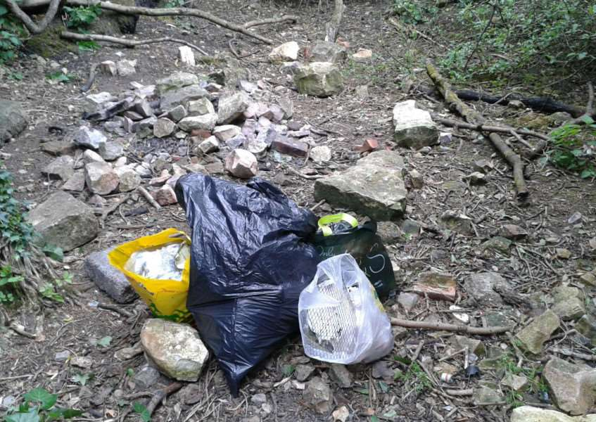Mary collected rubbish in these bags on the Hills and Hollows