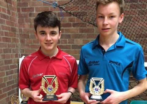 Benjamin Rigby (left) with his Junior Boys' Trophy.