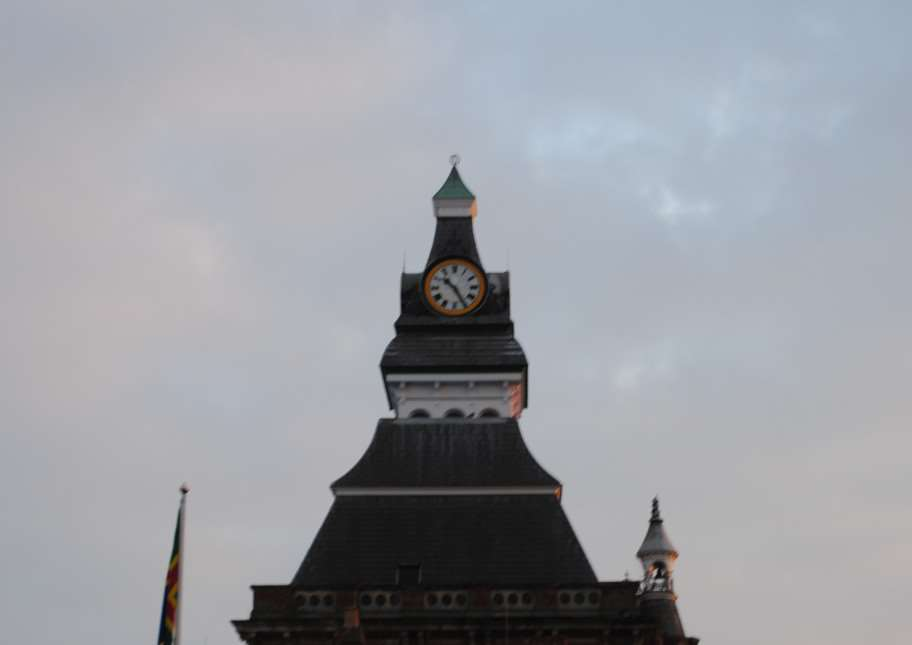 The Guildhall clock's hands are stuck at 25 minutes past 10.