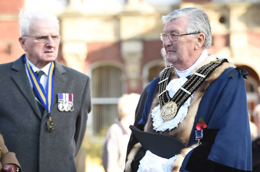 Mayor of Grantham Coun Mike Cook pays his respects on Remembrance Sunday.