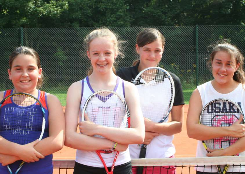 Pictured, from left, are 14 and under girls' doubles finalists Martha Patton, Mille Kappen, Cerys Jones and Lydia Marshall.