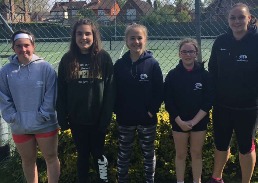 Grantham Tennis Club 14 and under girls Libby Duncan, Issy Chapman, Martha Patton and Eve Kimberley, with team captain Megan Jones.