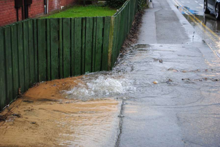 The burst water main outside Great Northern Court in Grantham.