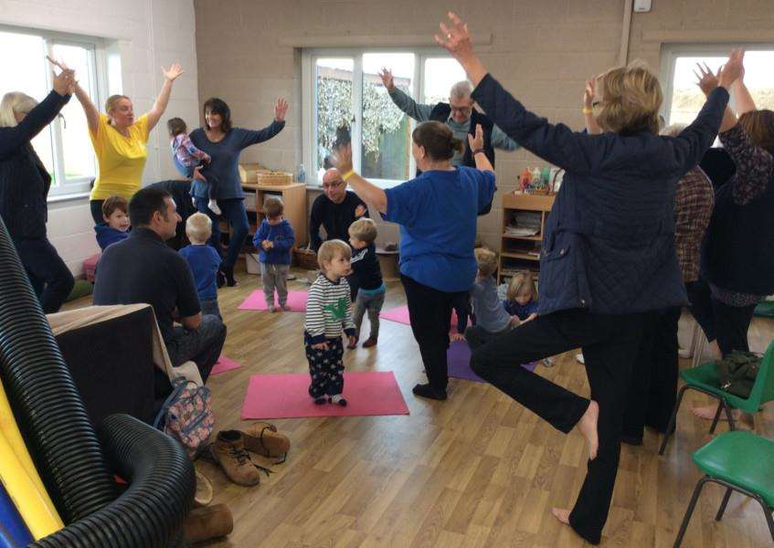 Grandparents took part in a yoga session on Friday morning.