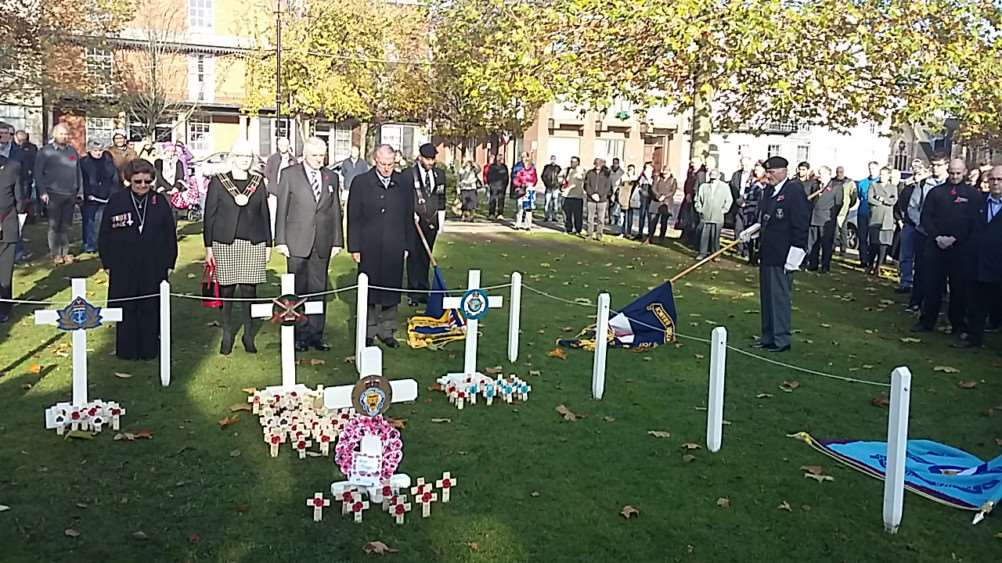 A two-minute silence was observed on Armistice Day on St Peter's HIll, Grantham.