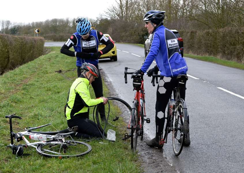 Punctures were not uncommon on Sunday. Photo: Alan East